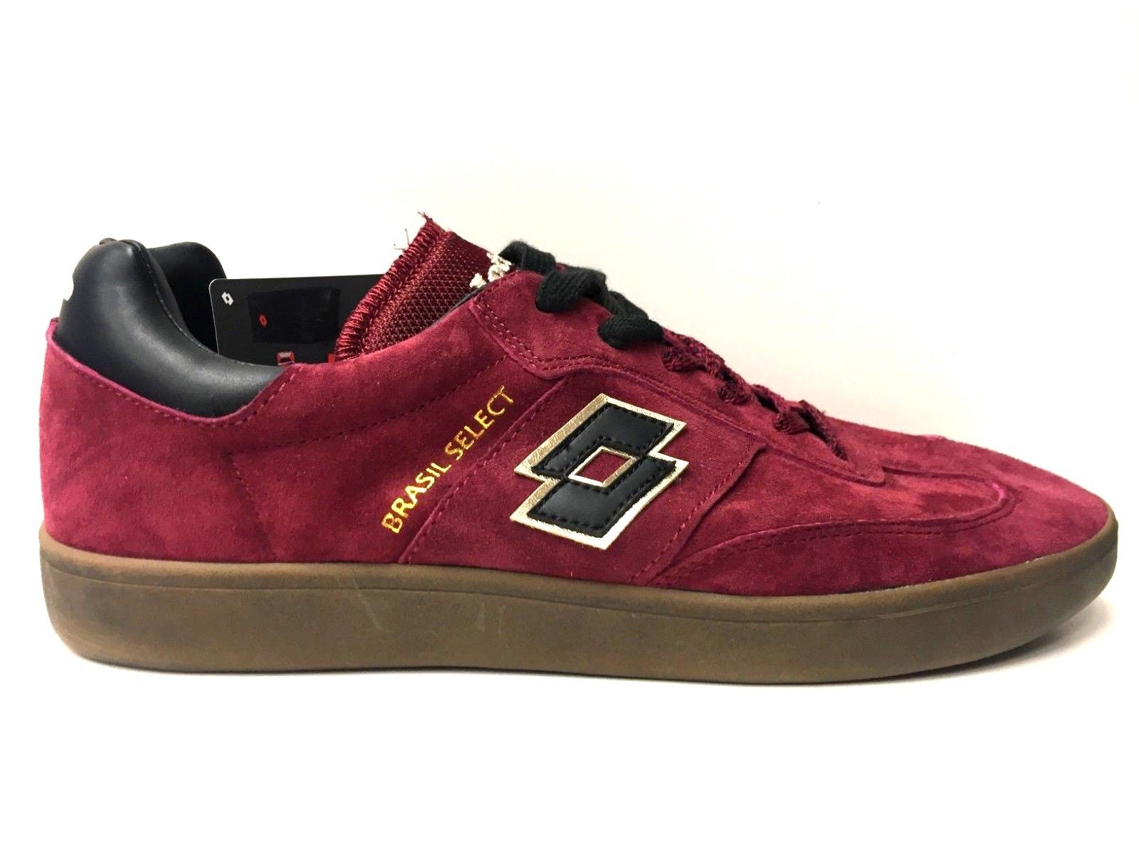 SCARPE SNEAKERS UOMO LOTTO 1992 BRASIL SELECT T7367 RED PRT BLACK PELLE AI