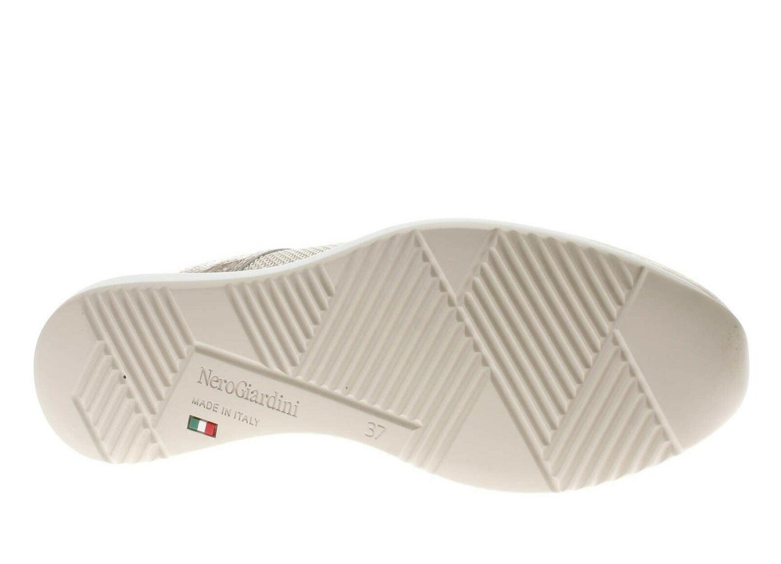 SCARPE SNEAKERS DONNA NERO GIARDINI P907520D 446 CREMA ORO
