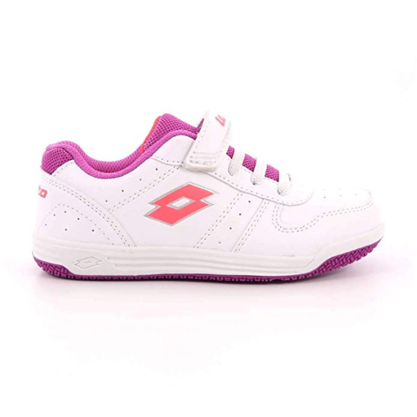 SCARPE SNEAKERS BAMBINA LOTTO S3858 SET ACE X CL ECO PELLE BIANCO ORIGINALE AI