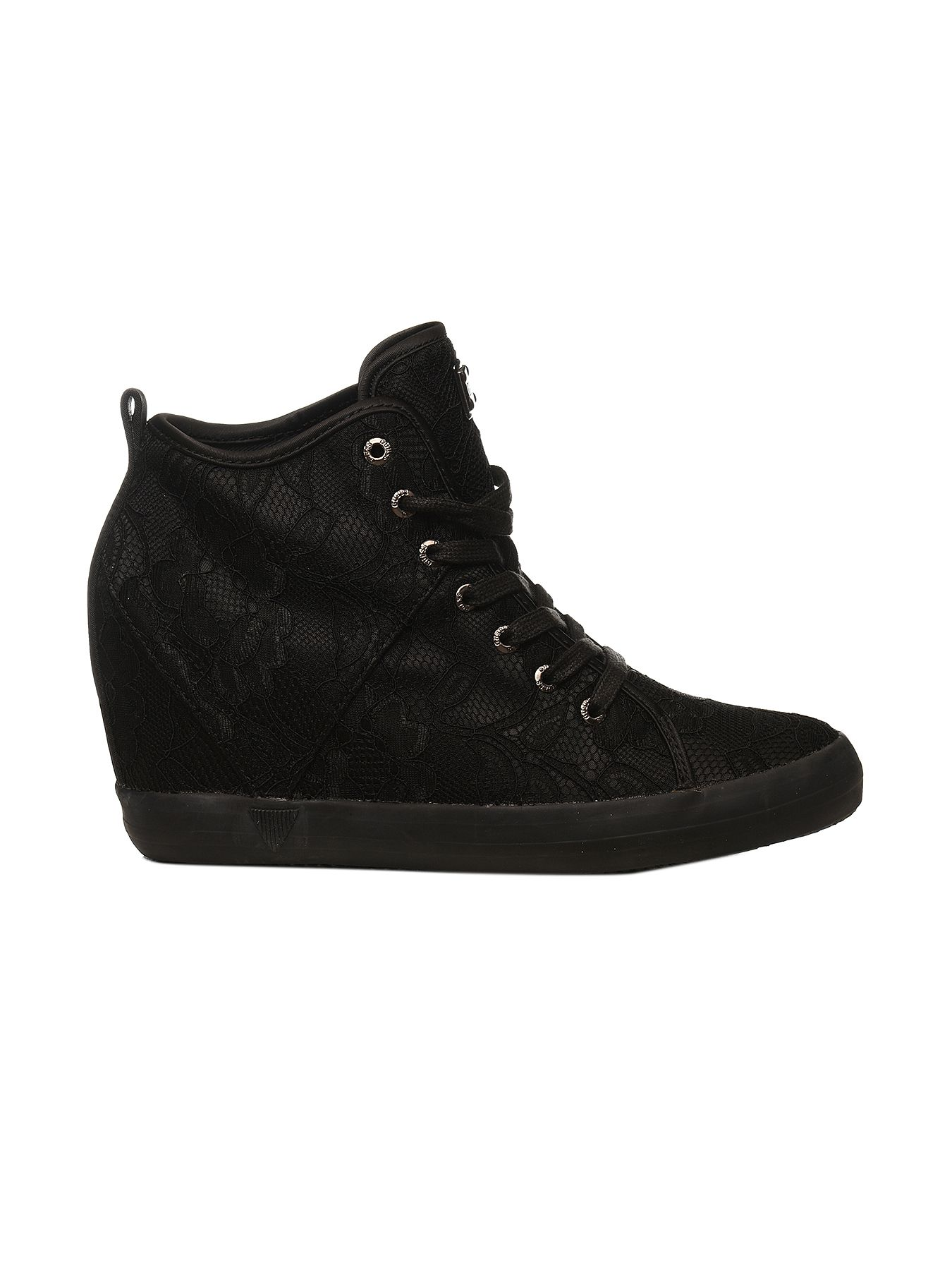 SCARPE SNEAKERS DONNA GUESS FLJIL3SAT12 BLACK PIZZO ZEPPA ORIGINALE PE NEW
