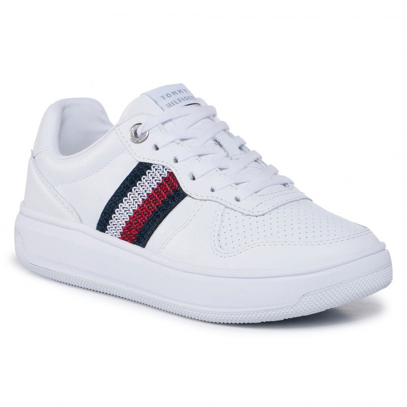 SCARPE SNEAKERS DONNA TOMMY HILFIGER FW0FW05220 PELLE BIANCO ORIGINAL AI 2021