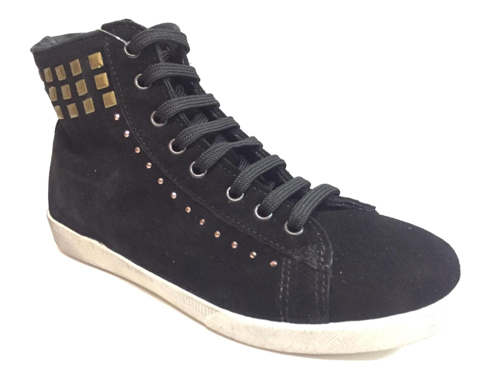 SCARPE SNEAKERS ALTE CASUAL DONNA KIOSS 133 PELLE NERO ORIGINALE AI NEW