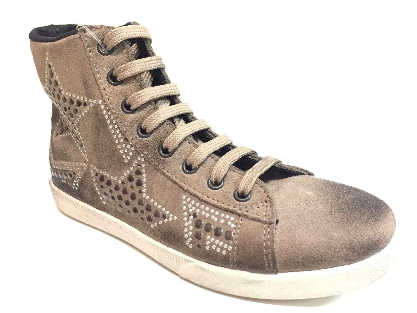 SCARPE SNEAKERS ALTE CASUAL DONNA KIOSS 133 PELLE FANGO ORIGINALE AI NEW