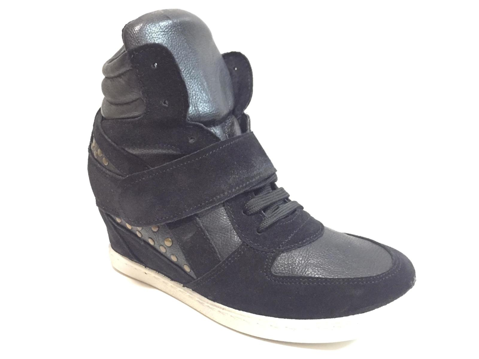 SCARPE SNEAKERS ALTE CASUAL DONNA KIOSS 20 1 PELLE NERO ORIGINALE AI NEW