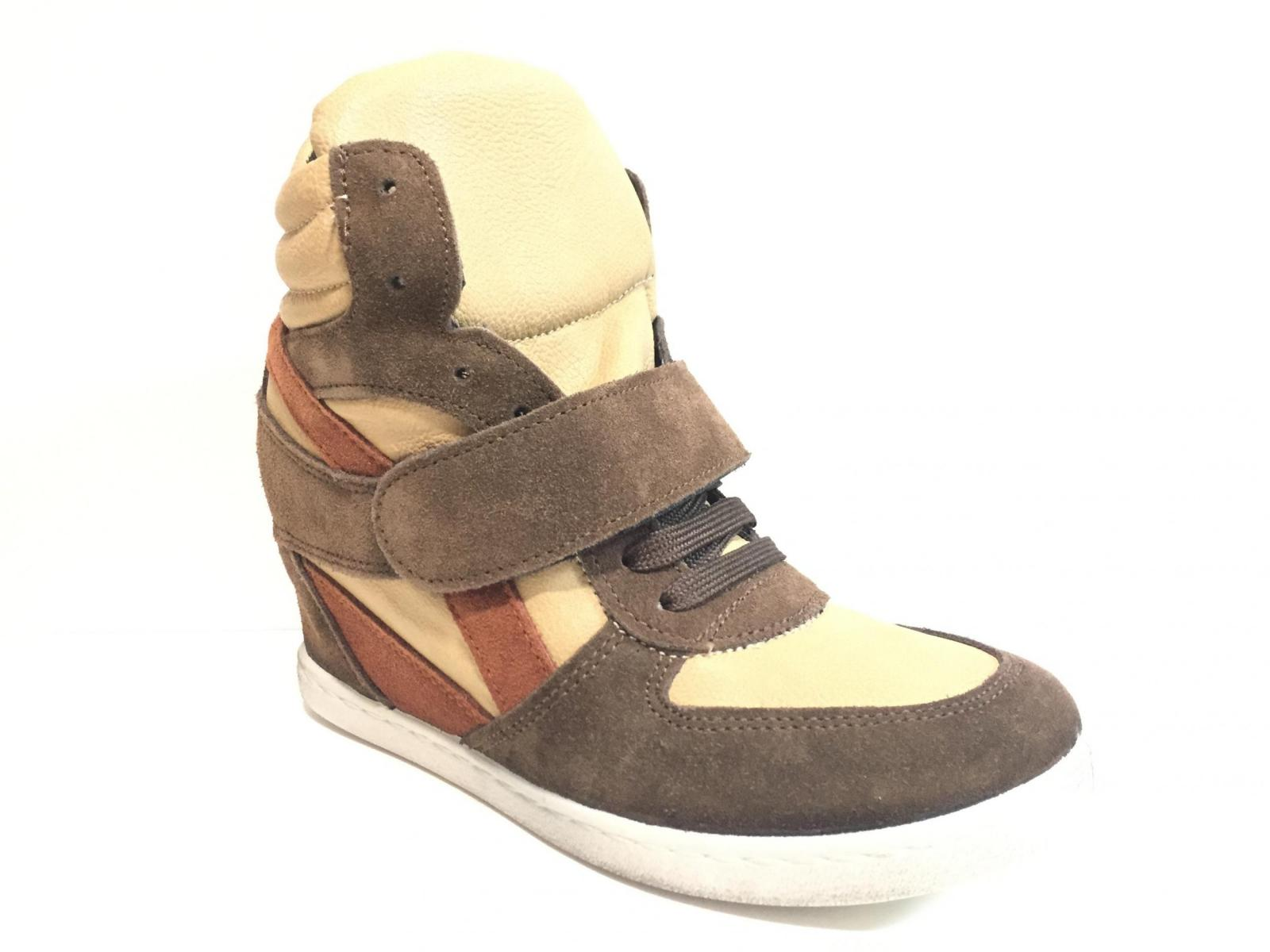 SCARPE SNEAKERS ALTE CASUAL DONNA KIOSS 20 1 PELLE BEIGE ORIGINALE AI NEW