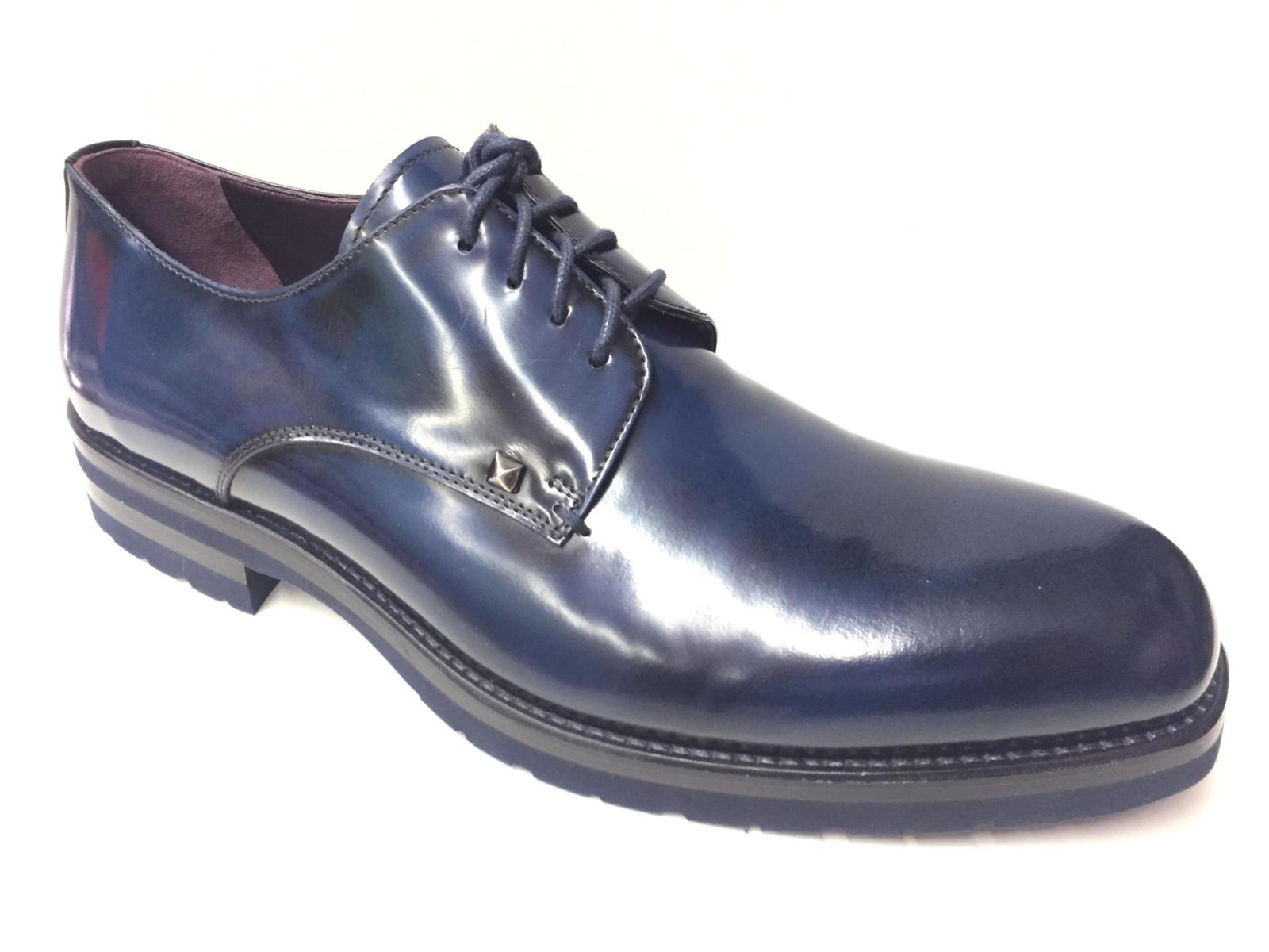 SCARPE CASUAL DERBY UOMO MIRAGE 8705 PELLE BLU ORIGINALE AI NEW