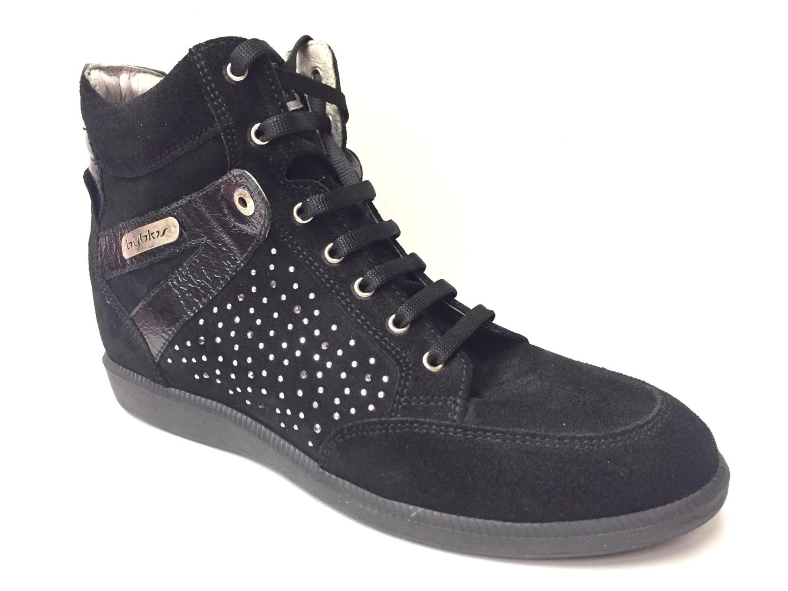 SCARPE SNEAKERS CASUAL DONNA BYBLOS SB30077 PELLE NERO ORIGINALE AI NEW
