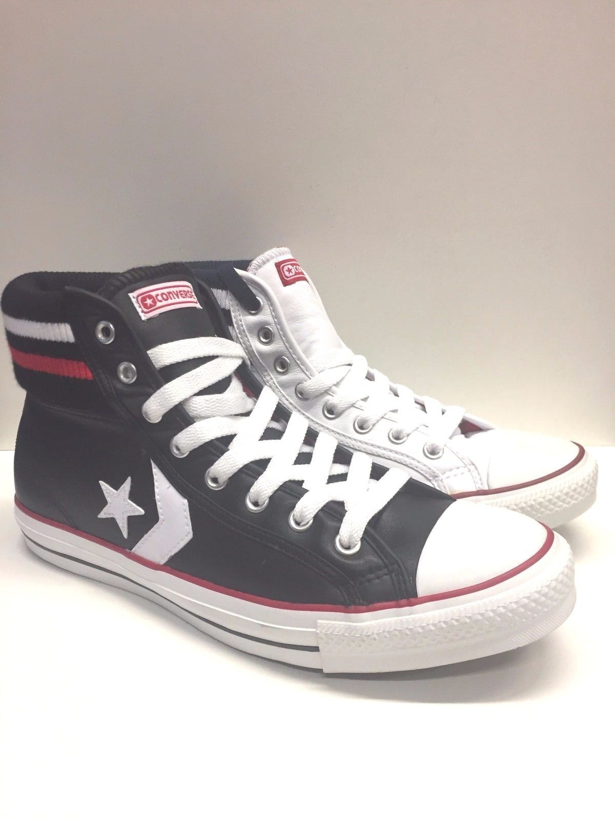 SCARPE SNEAKERS UOMO CONVERSE ORIGINAL STAR PLAYER MID 114349 PELLE SHOES A/I
