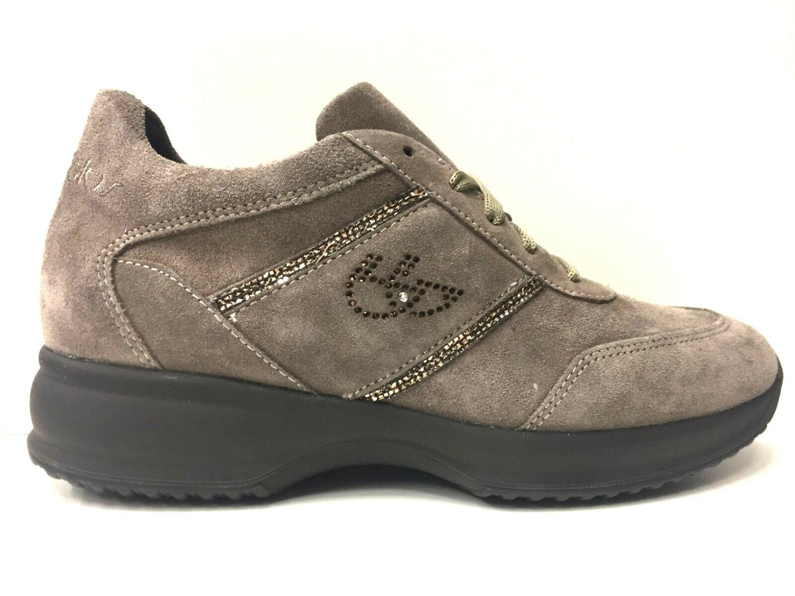 SCARPE SNEAKERS CASUAL DONNA BYBLOS ORIGINALE 695791 PELLE SHOES TAUPE A/I NEW
