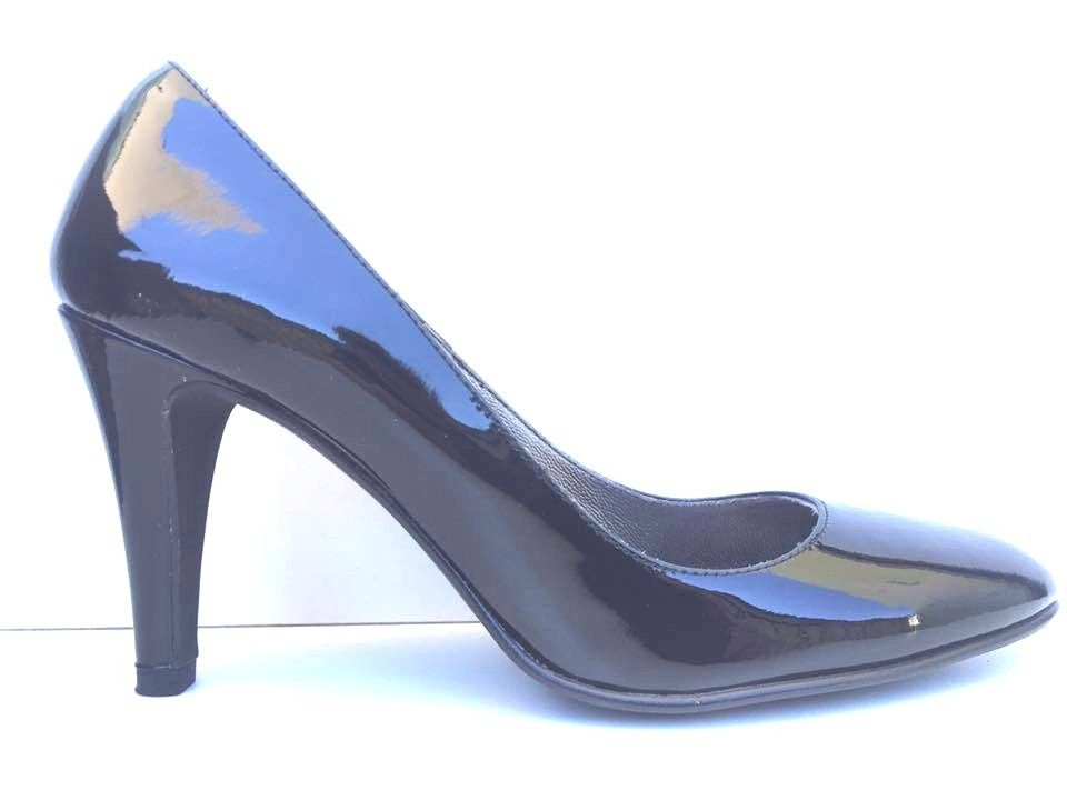 SCARPE DECOLTE' TACCO DONNA EVA ROSSI ORIGINALE 9956R PELLE SHOES NERO NEW
