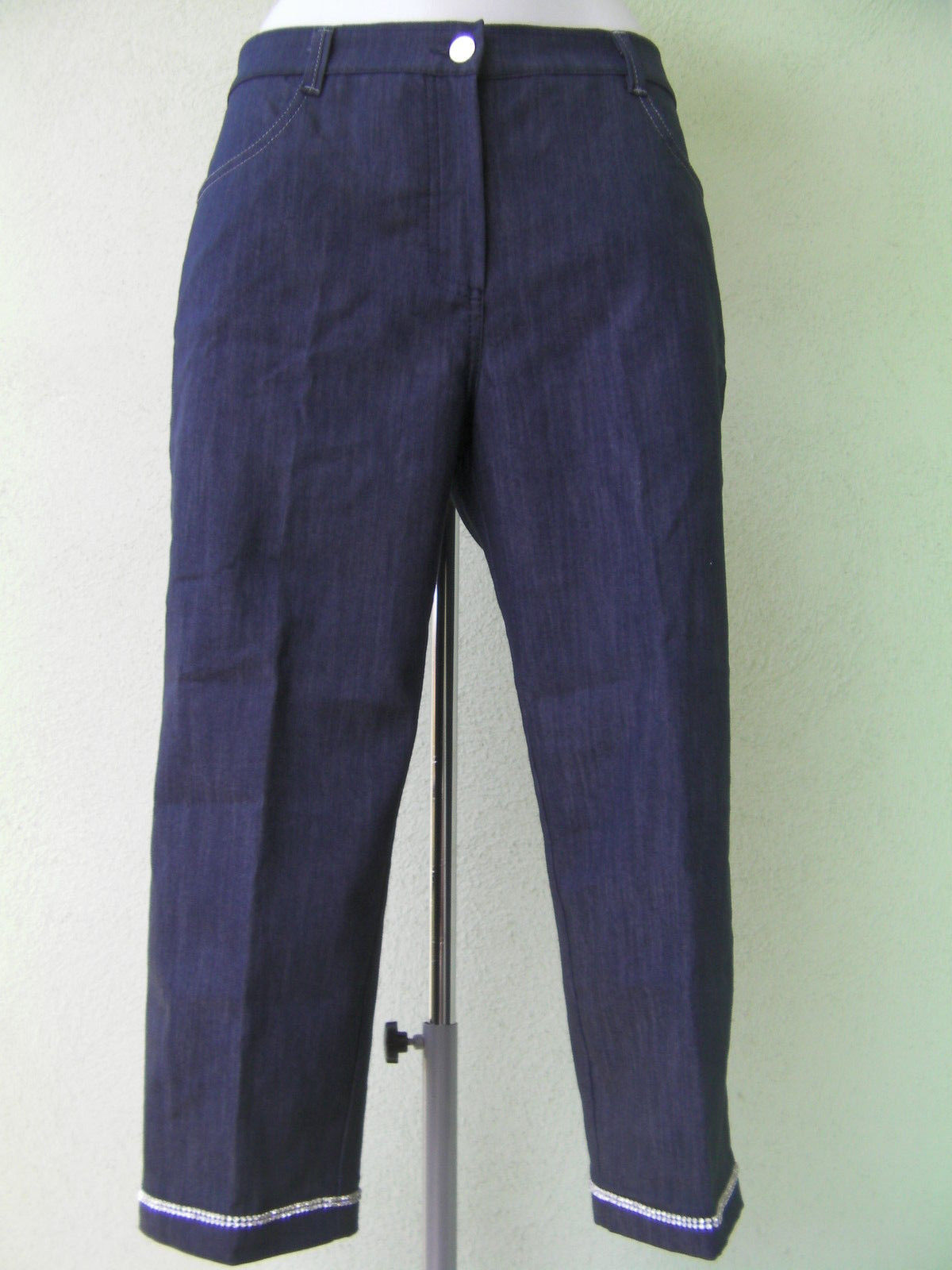 PANTALONE BERMUDA DONNA CARLA FERRONE JEANS ORIGINAL 46 PANTS WOMAN STRASSES NEW