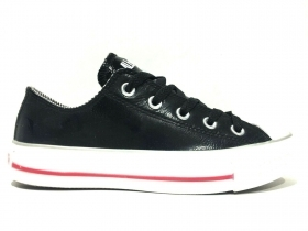 SCARPE SNEAKERS DONNA CONVERSE CT OX 212371 PELLE NERO ORIGINALE AI NEW