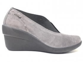 SCARPE CASUAL SLIP ON DONNA ENVAL SOFT 49612 PELLE GRIGIO ORIGINALE AI NEW