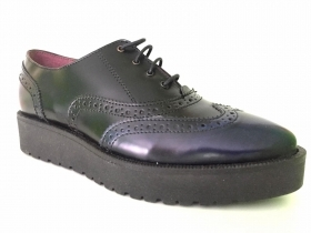 SCARPE CASUAL DERBY INGLESE DONNA KEYS 8214 ECO PELLE NERO ORIGINALE AI NEW