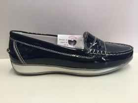 SCARPE MOCASSINI DONNA SWISSIES GIORGIA 302 BLU NAVY PELLE LEATHER SHOES ZEPPA