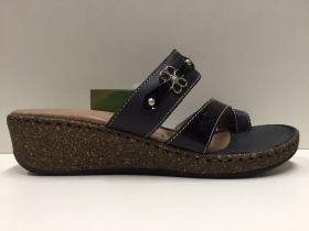 SCARPE CIABATTE SANDALO DONNA FLORANCE ORIGINALE 228021 PELLE NERO SHOES NEW