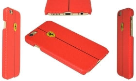 COVER SCUDERIA FERRARI ORIGINALE IN PELLE VERA APPLE IPHONE 6 PLUS ROSSO NUOVO