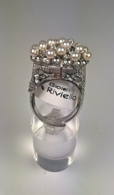 ANELLO CIUFFO PERLE ARGENTO 925 RIVIELLO ORIGINALI RING SILVER WOMAN NV REGALO