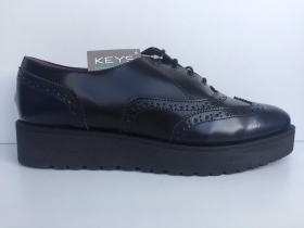 SCARPE CASUAL INGLESE DONNA KEYS ORIGINALE 8214 PELLE BLU NERO SHOES SCONTO NEW