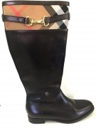 STIVALI DONNA BURBERRY ORIGINALE LF DOUGAL 39 NERO PELLE BOOTS LEATHER  USATO