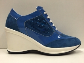 SCARPE CASUAL DONNA G.P. SPORT ORIGINAL 5011 BLU ELETTRICO PELLE SHOES ZEPPA NEW