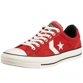 SCARPE SNEAKERS DONNA UOMO CONVERSE ALL STAR PLAYER 111322 RED ROSSO PELLE
