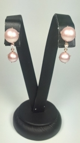 ORECCHINI ORO ROSA 18KT MIMI' ORIGINALE PERLE DIAMANTI EARRINGS GOLD PINK NV NEW