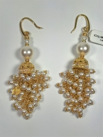 ORECCHINI AGO ARGENTO 925 RIVIELLO ORIGINALE SFERE PIETRE LAMINATO ORO EARRINGS