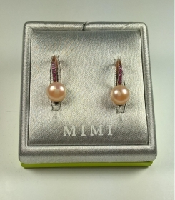 ORECCHINI ORO ROSA 9 KT MIMI' ORIGINALE PERLA COLTIVATA ZAFFIRI EARRINGS GOLD NV