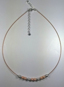 COLLIER ARGENTO 925 RIVIELLO ORIGINALE CAVETTO ROSE' SFERE SATINATE SILVER NV