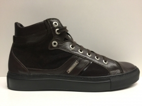 SCARPE CASUAL SNEAKERS UOMO ALEXANDER ORTINA 81503 DARK BROWN PELLE ORIGINALE