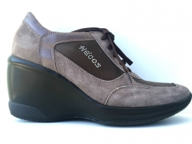 SCARPE CASUAL DONNA HECOS ORIGINALE E2 30 SHOES ZEPPA NERO PELLE NUOVO