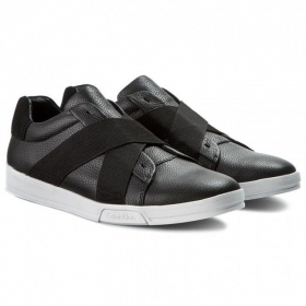 SCARPE SNEAKERS UOMO CALVIN KLEIN JEANS F0798 BAKU TUMBLED LEATHER BLACK NERO AI