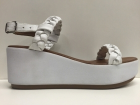 SCARPE SANDALI DONNA INUOVO ORIGINALI 6164 WHITE PELLE + CUOIO ZEPPA WOMAN SHOES