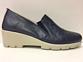 SCARPE MOCASSINO CASUAL DONNA CINZIA SOFT ORIGINALE PELLE BLU P/E 2018 NEW
