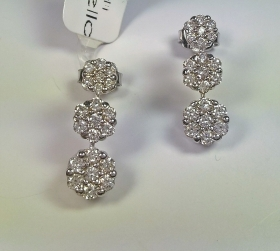 ORECCHINI ORO RIVIELLO ORIGINALI TRILOGI PAVE' FIORI  42 DIAMANTI GOLD EARRINGS