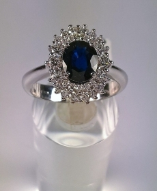 ANELLO ORO BIANCO RIVIELLO ORIGINALE ZAFFIRO BLU 88 DIAMANTI RING GOLD DIAMONDS
