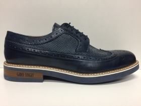 SCARPE CASUAL UOMO GINO TAGLI 301 BLU PELLE SHOES LEATHER INGLESINA PE